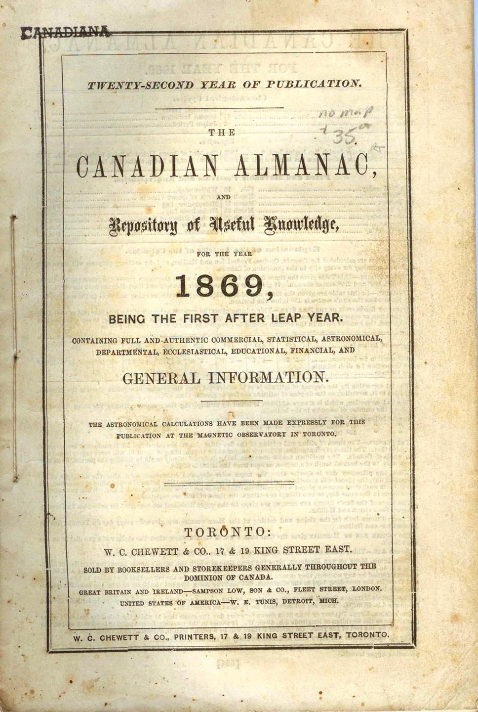 The Canadian Almanac, and Repository of Useful Knowledge for the Year 1869
