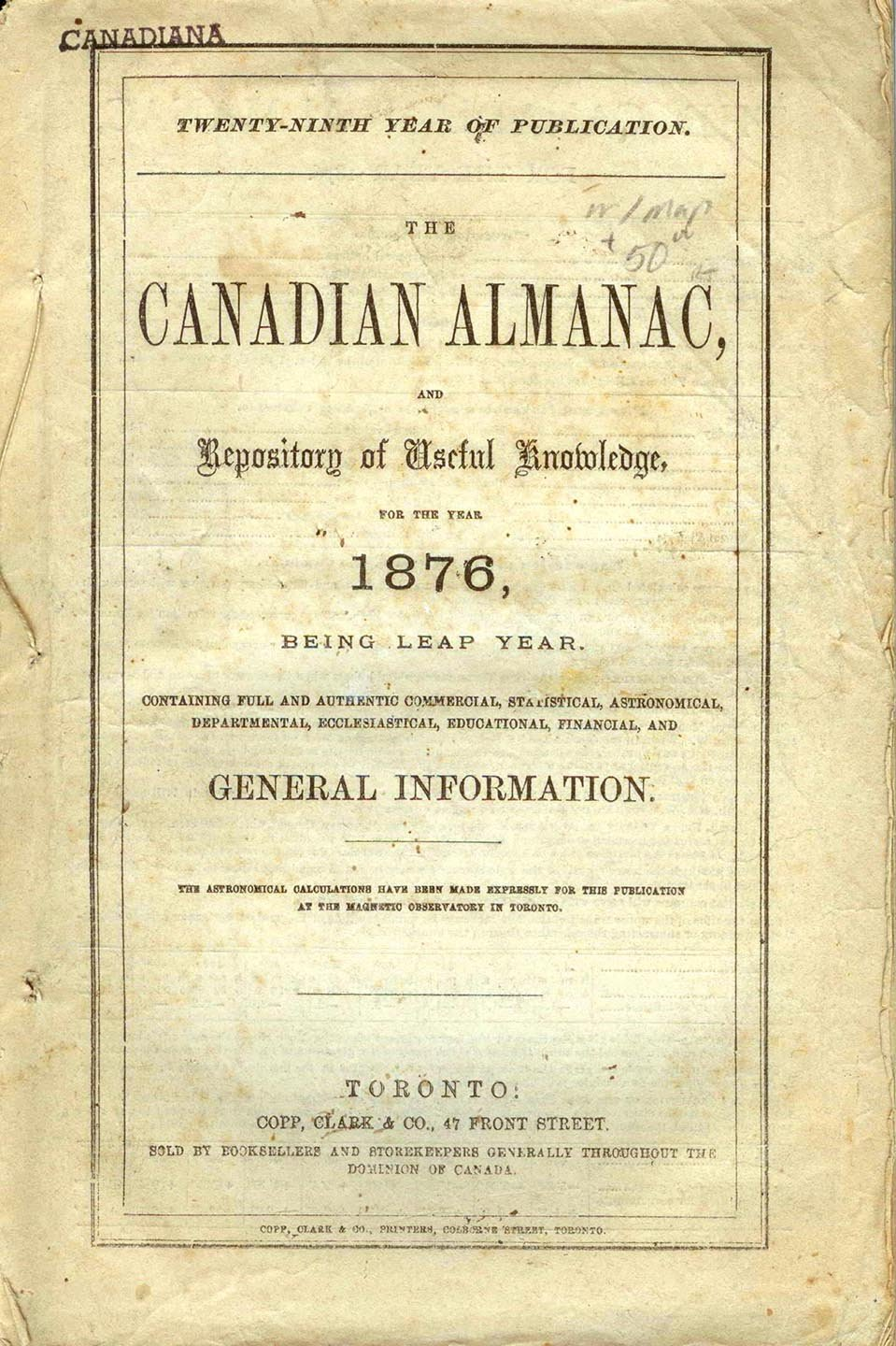 The Canadian Almanac, and Repository of Useful Knowledge for the Year 1876