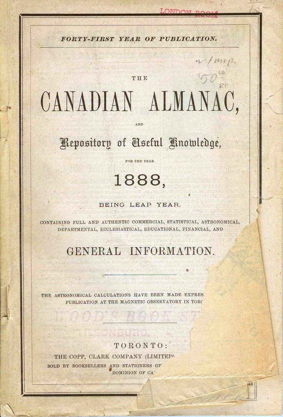 The Canadian Almanac, and Repository of Useful Knowledge for the Year 1888