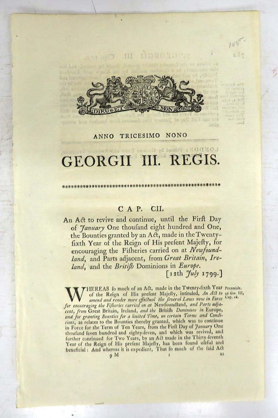 An Act to revive and continue, until the First Day of January One thousand eight hundred and One, the Bounties granted by an Act, made in the Twenty-sixth Year of the Reign of His present Majesty, for encouraging the Fisheries carried on at Newfoundland