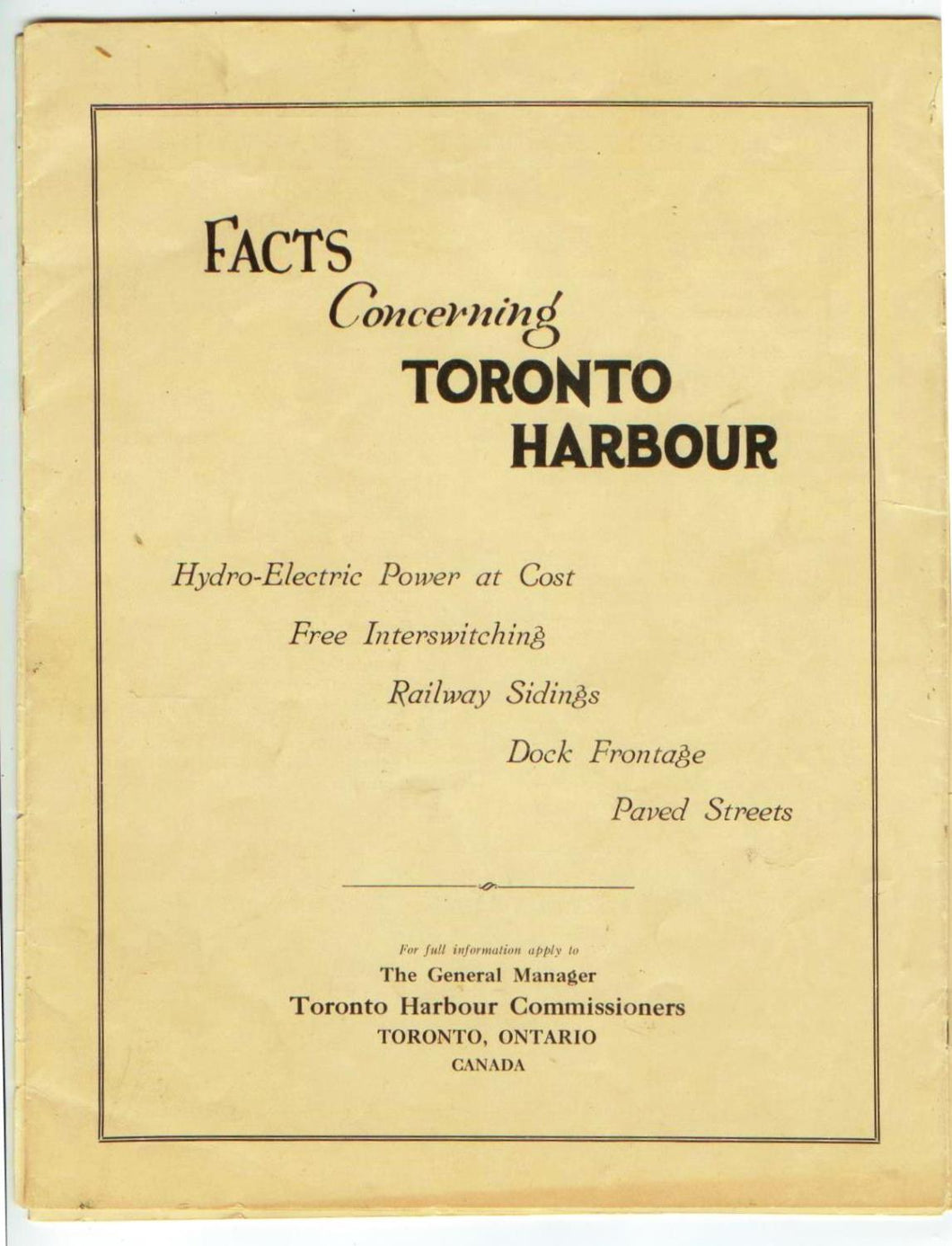 Facts Concerning Toronto Harbour