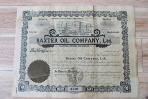 Share certificate from Baxter Oil Company