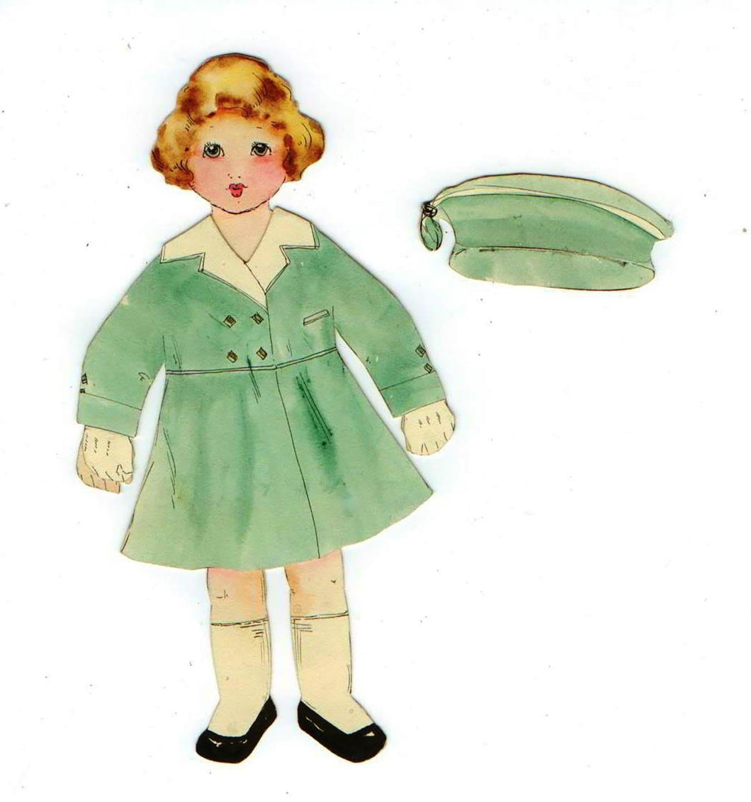1920s paper doll with outfits