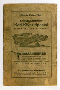 Parts Price List for Nichols & Shepard Red River Special Separators and Attachments