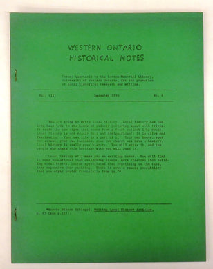 Western Ontario Historical Notes December 1950