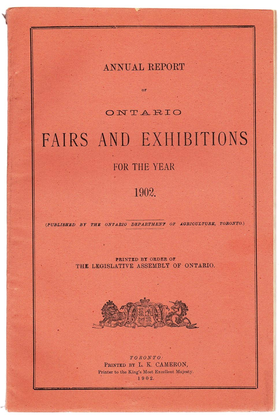 Annual Report of Ontario Fairs and Exhibitions for the Year 1902
