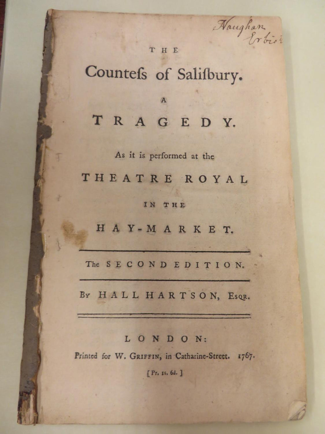 The Countess of Salisbury. A Tragedy. As it is performed at the Theatre Royal in the Hay-Market.