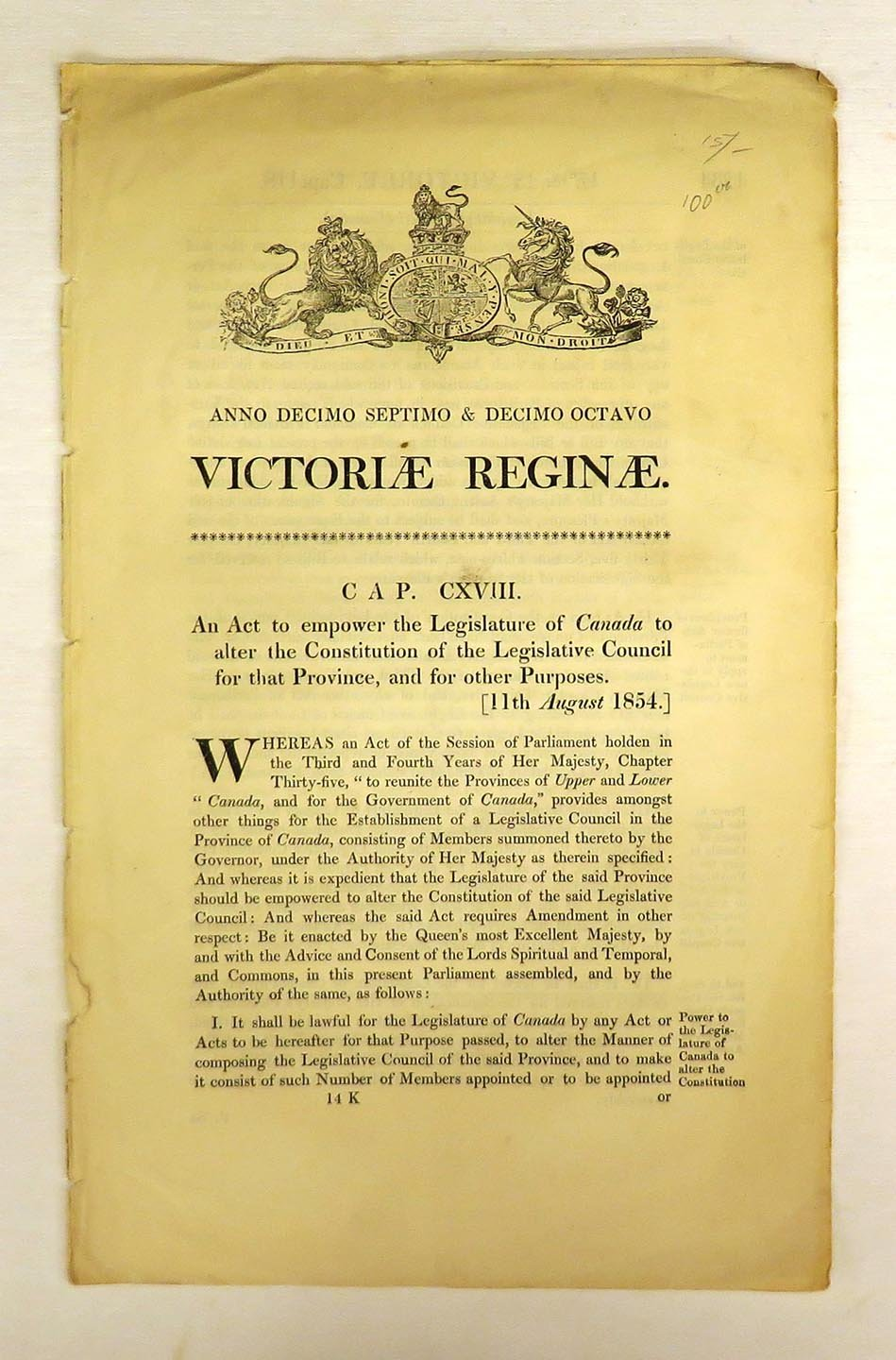 An Act to empower the Legislature of Canada to alter the Constitution of the Legislative Council for that Province, and for other Purposes