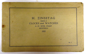 H. Zinsstag Clock and Watch catalogue, 1922