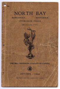 North Bay Powassan Mattawa Sturgeon Falls and surrounding territory telephone book, October 1944