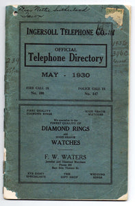 Ingersoll Telephone Directory, May 1930
