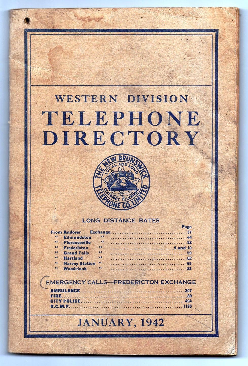 Western Division Telephone Directory January, 1942