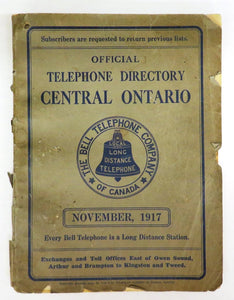 Official Telephone Directory Central Ontario, November 1917