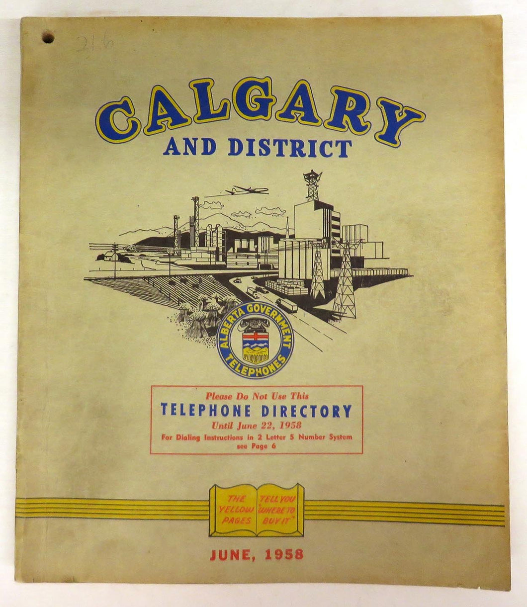 Calgary and District telephone directory, June 1958