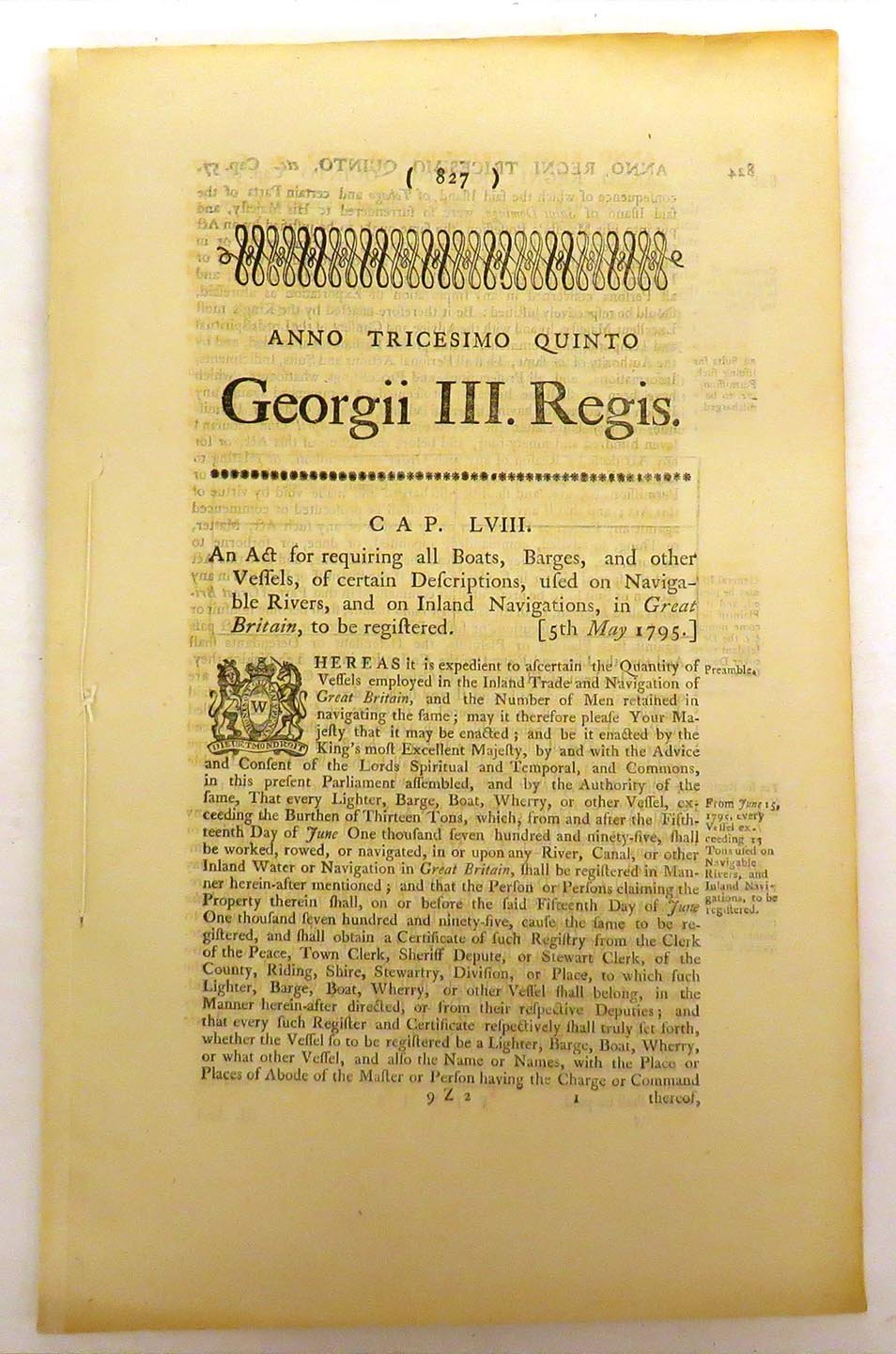 An Act for requiring all Boats, Barges, and Other Bessels, of certain Descriptions, used on Navigable Rivers, and on Inland navigations, in Great Britain, to be registered