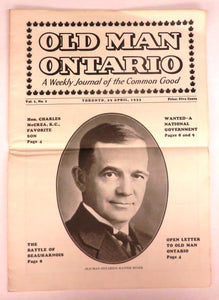 Old Man Ontario: A Weekly Journal of the Common Good, April 29, 1933
