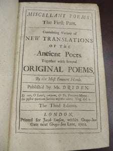 Miscellany Poems: The First Part. Containing Variety of New Translations of the Ancient Poets.