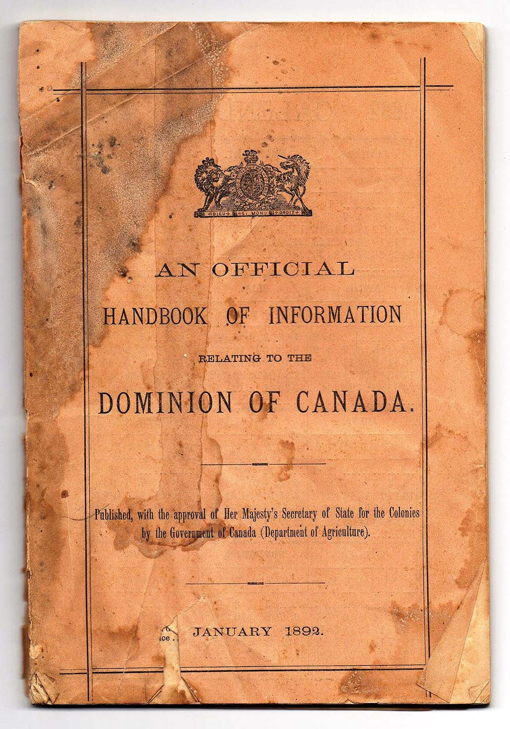 An Official Handbook of Information Relating to the Dominion of Canada