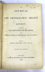 The Journal of the Photographic Society of London. Containing the Transactions of the Society and a General Record of Photographic Art and Science