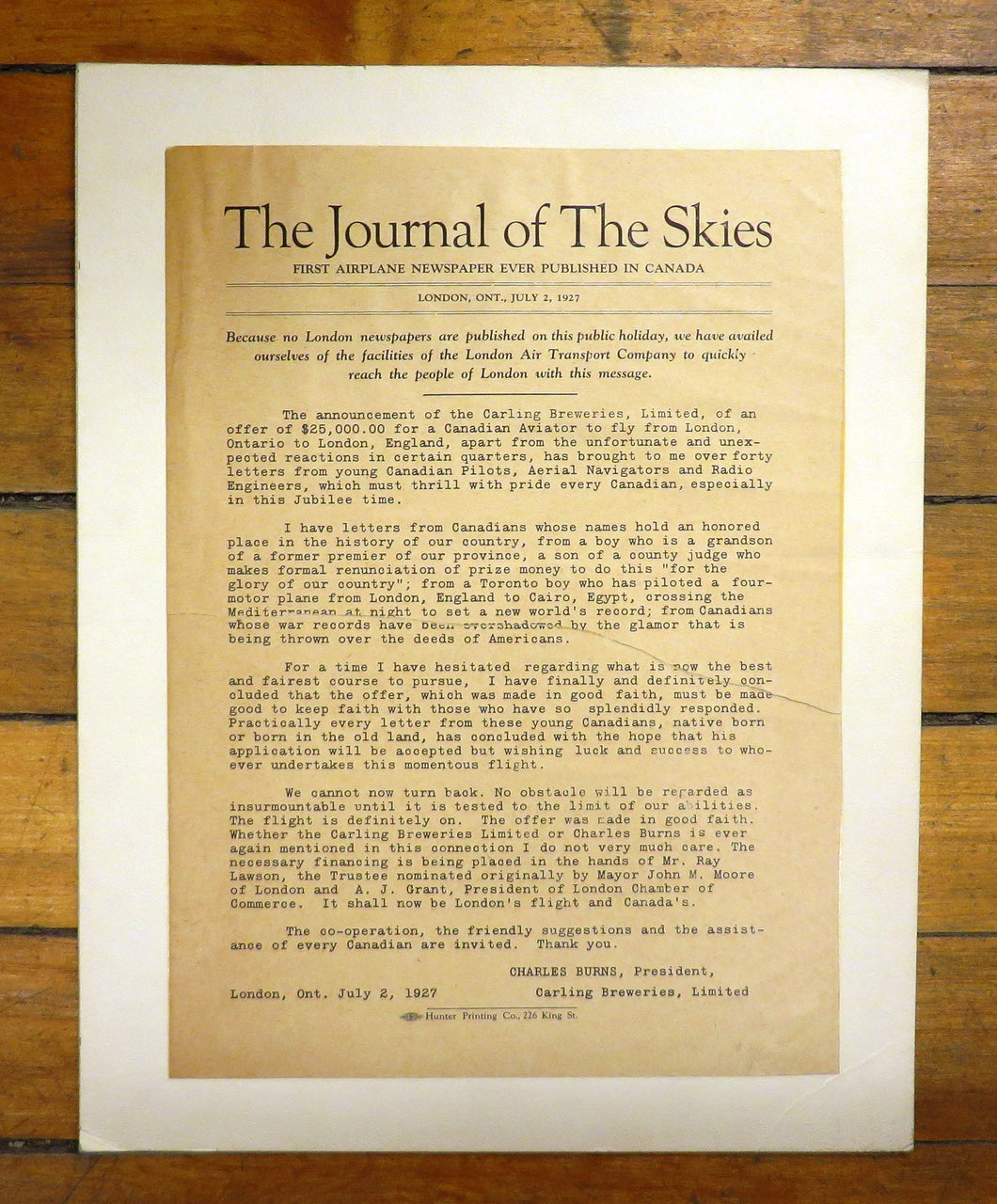 The Journal of The Skies: First Airplane Newspaper Ever Published in Canada