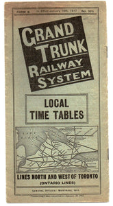 Grand Trunk Railway System timetable, 1917