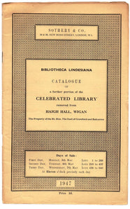 Bibliotheca Lindesiana Catalogue of a further portion of the Celebrated Library removed from Haigh Hall, Wigan. The Property of the Rt. Hon. The Earl of Crawford and Balcarres