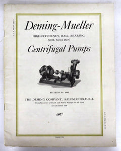 Deming-Mueller High-Efficiency, Ball Bearing, Side Suction Centrifugal Pumps catalogue