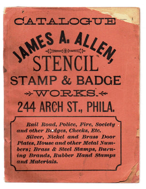 Catalogue James A. Allen, Stencil Stamp & Badge Works