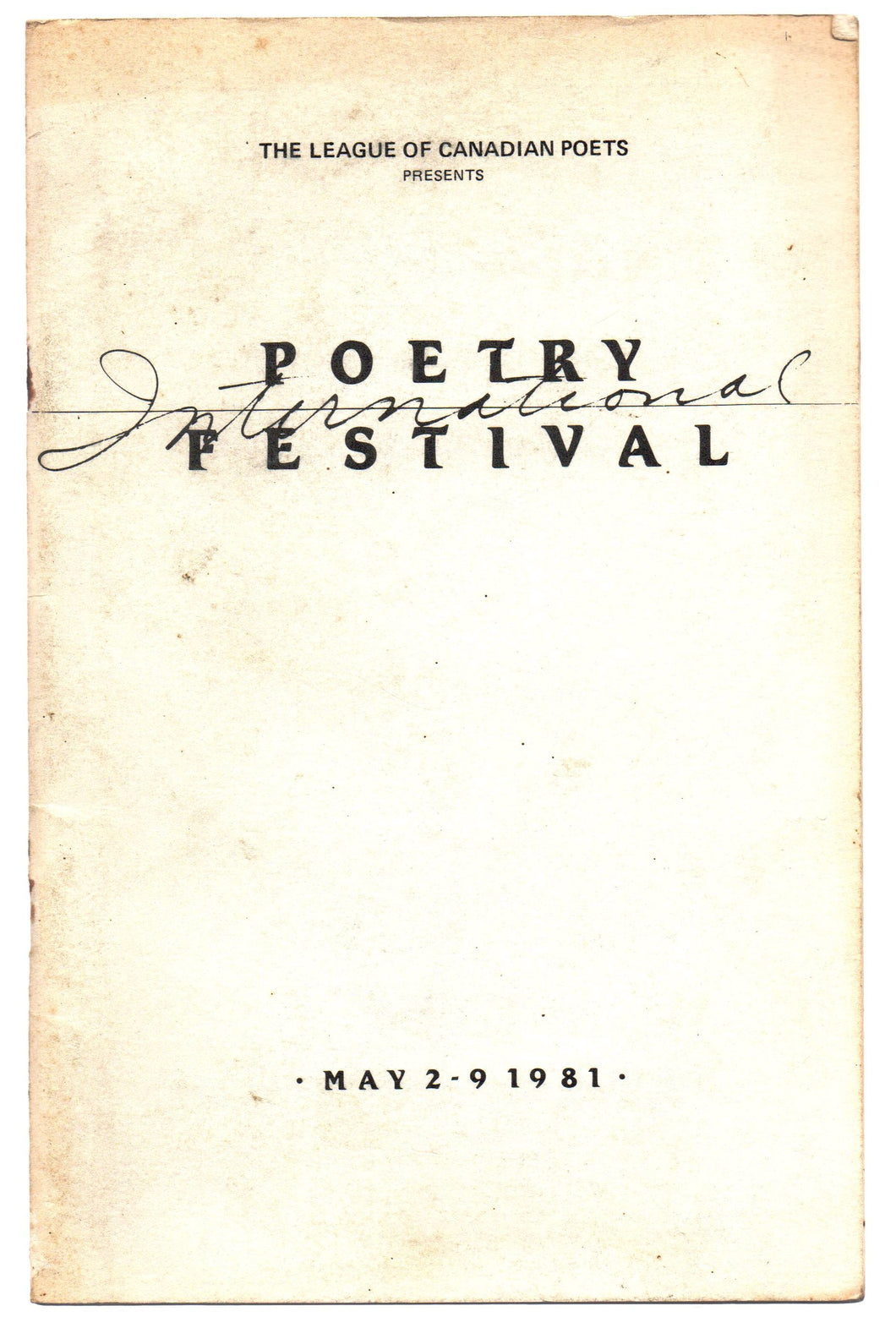 League of Canadian Poets International Poetry Festival, 1981