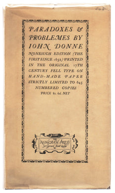 Paradoxes & Problemes by John Donne with two Characters and an Essay of Valour