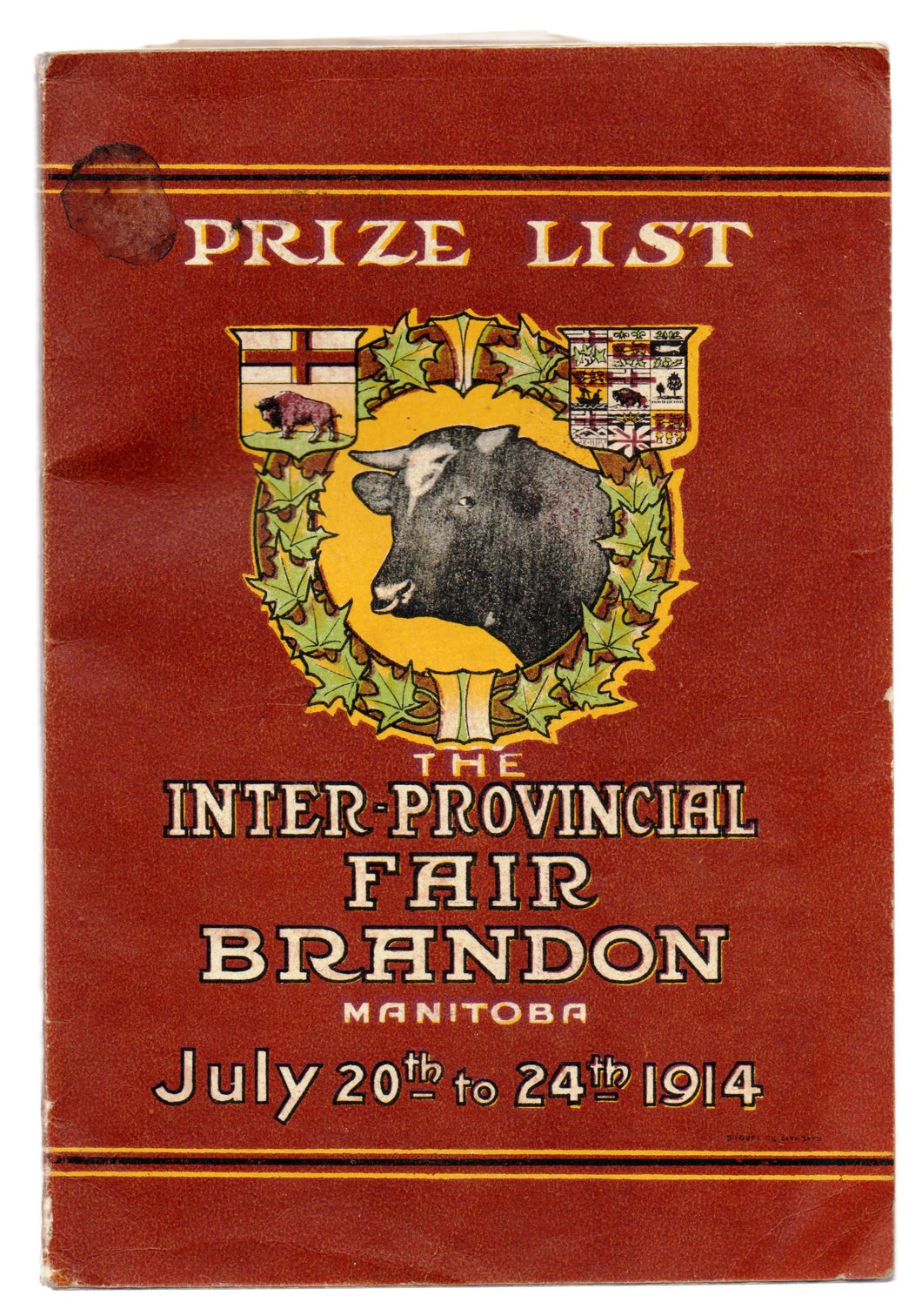 Prize List, The Inter-Provincial Fair Brandon, Manitoba July 20th to 24th 1914