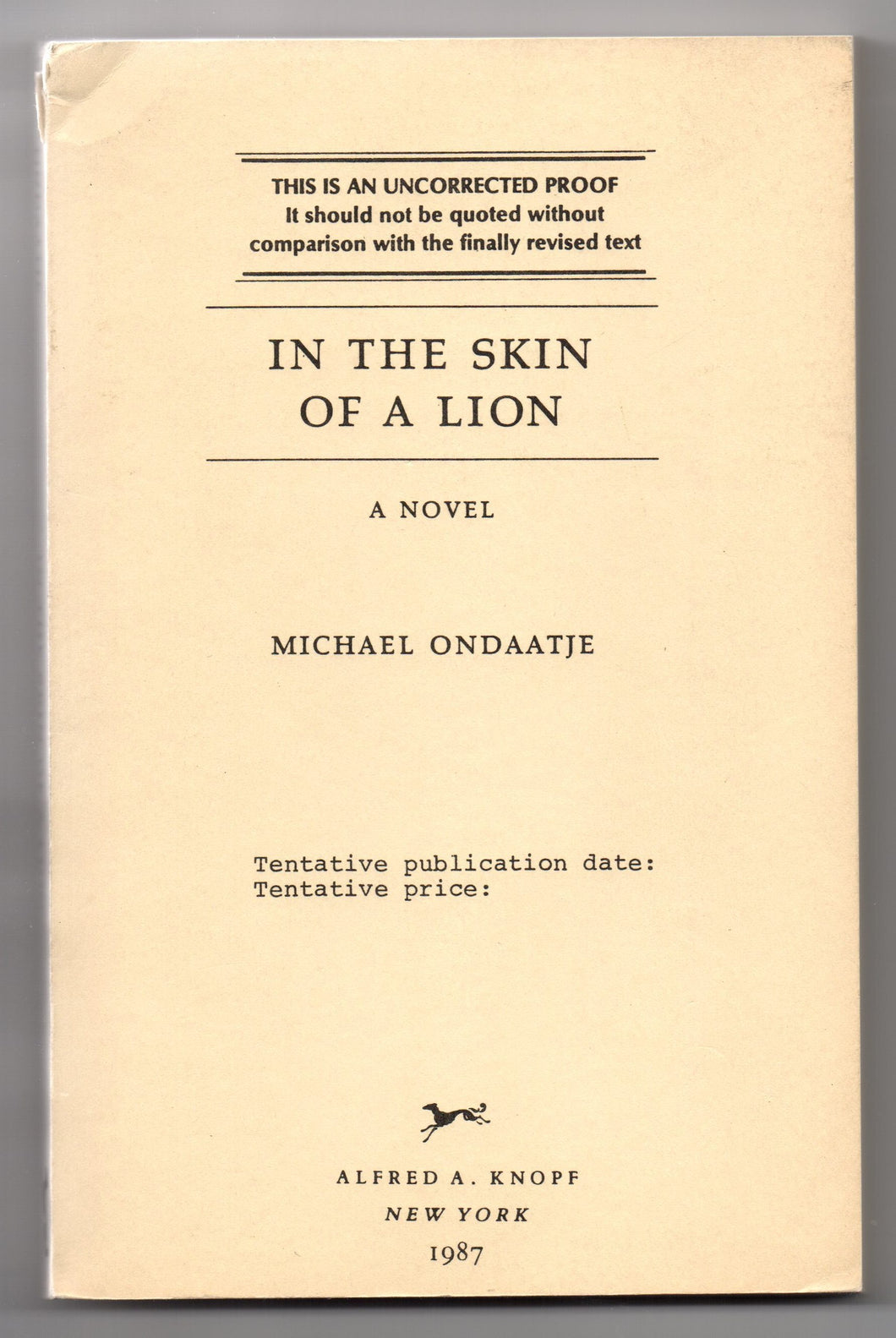 In The Skin of a Lion: A Novel