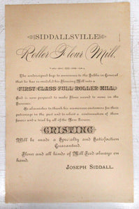 Siddallsville Roller Flour Mill advertisement