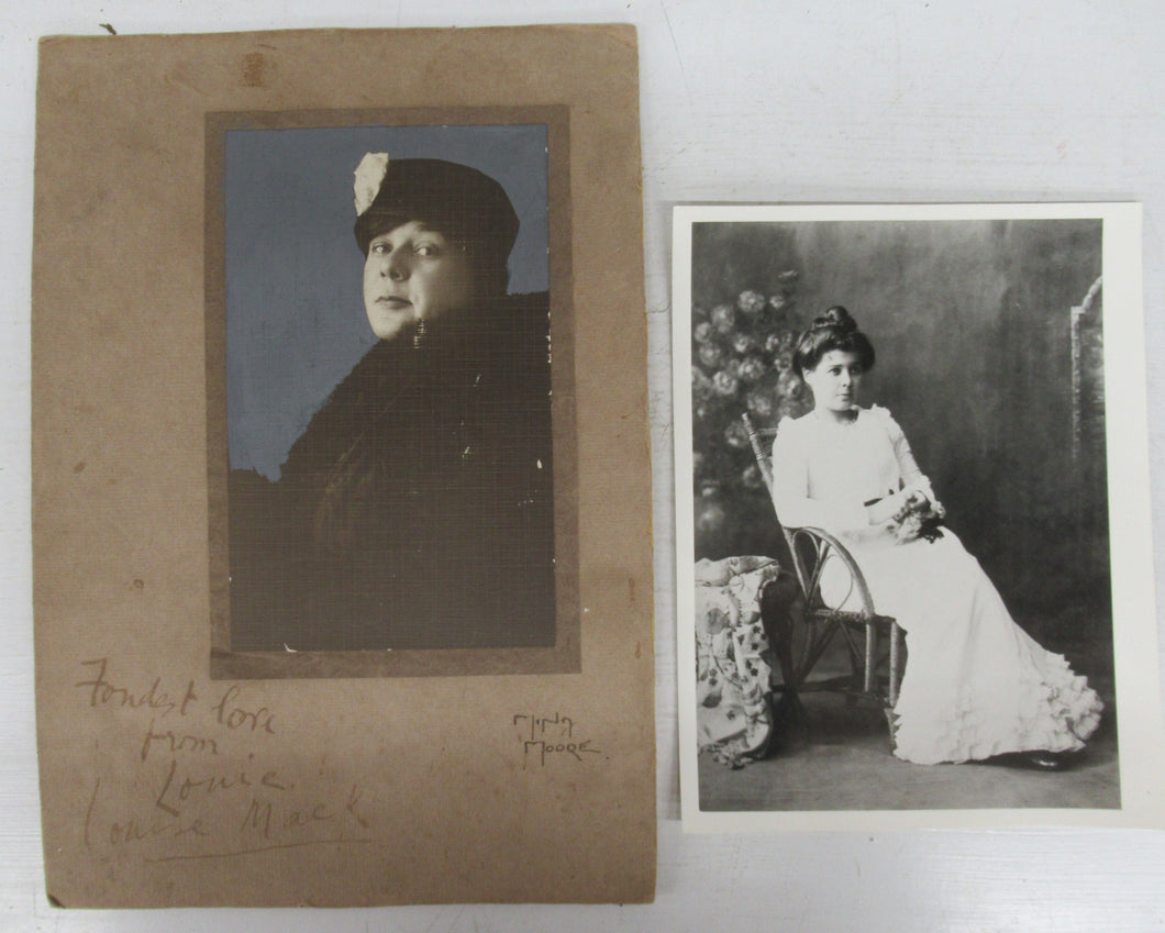 Two photos of Louise Mack