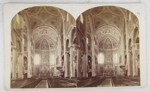 Interior of Church of the Gesu, Montreal, stereocard