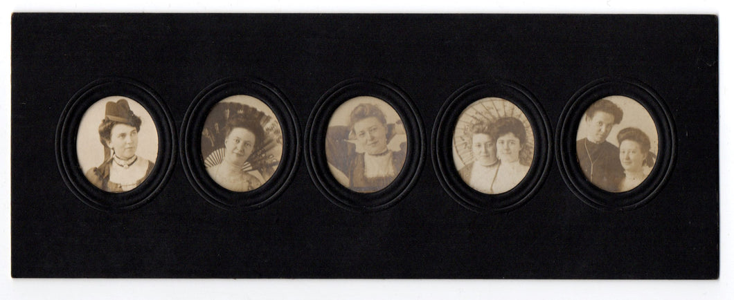 Five photo portraits of unknown women in collage frame