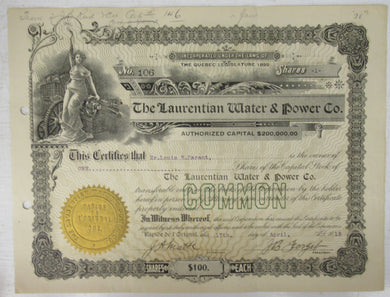 Stock certificate of The Laurentian Water & Power Co.