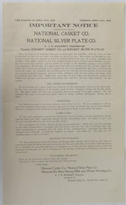 Important Notice. National Casket Co., National Silver Plate Co., National Dry Kilns Planing Mills and Wood Working Co.