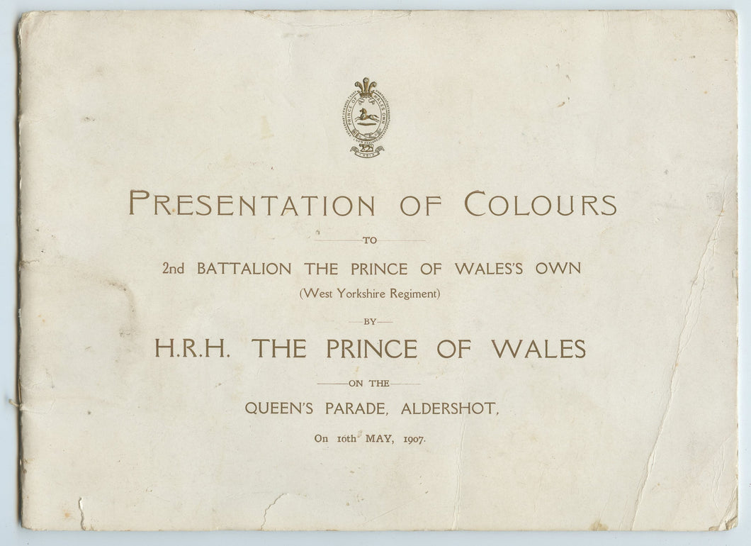 Presentation of Colours to 2nd Battalion the Prince of Wales's  Own (West Yorkshire Regiment) by H.R.H. The Prince of Wales on the Queen's Parade, Aldershot, On 10th May, 1907