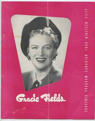 Gracie Fields Souvenir Program, Canadian Tour, Nineteen Fifty