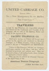 United Carriage Co. sales handbill
