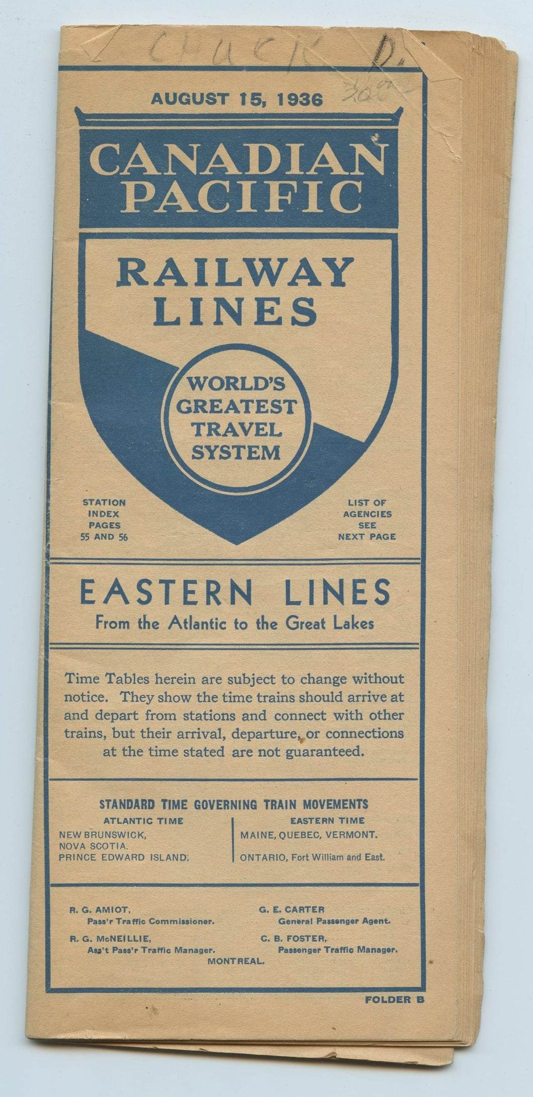 Canadian Pacific Railway Lines. Eastern Lines From the Atlantic to the Great Lakes
