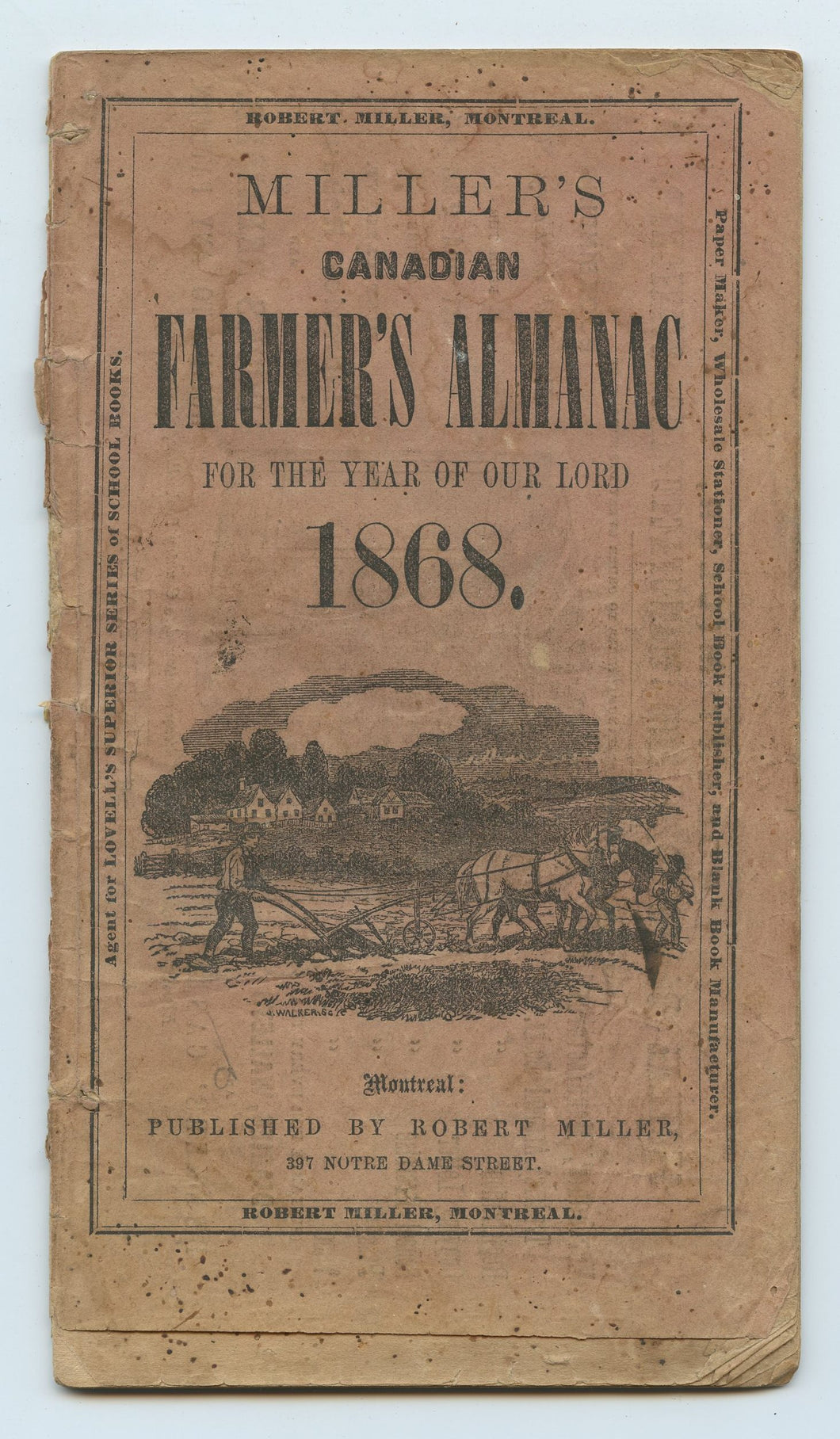 Miller's Canadian Farmer's Almanac for the Year of Our Lord 1868
