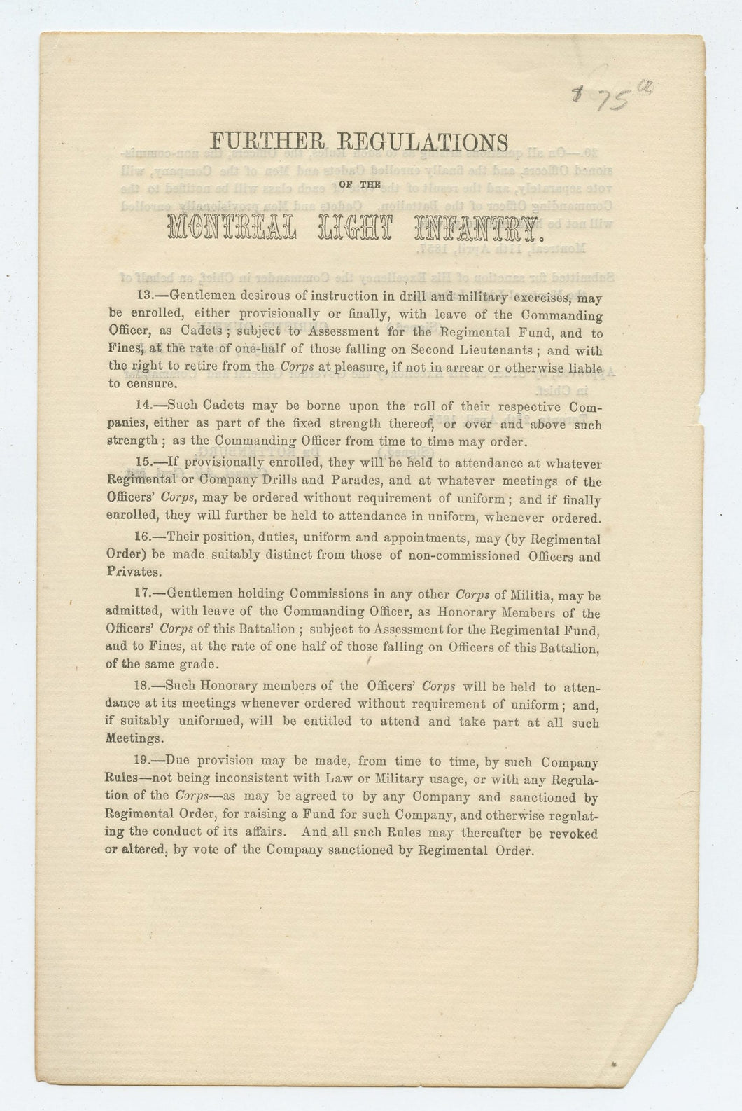 Further Regulations of the Montreal Light Infantry