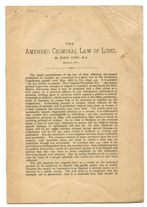 The Amended Criminal Law of Libel