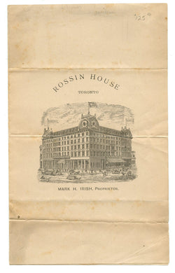 Rossin House menu and wine list