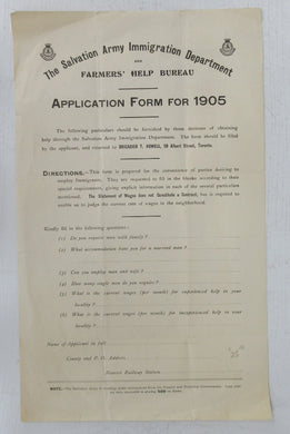 The Salvation Army Immigration Department and Farmers' Help Bureau Application Form for 1905
