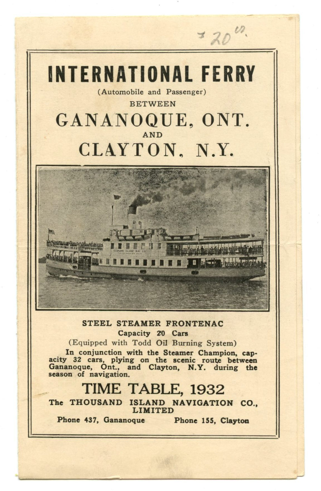 International Ferry Time Table, Gananoque, Ont. and Clayton, N.Y., 1932