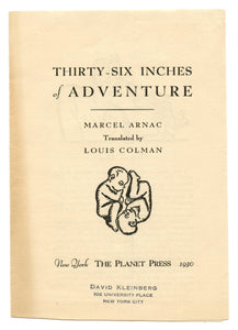 Prospectus and order form for Thirty-Six Inches of Adventure, by Marcel Arnac