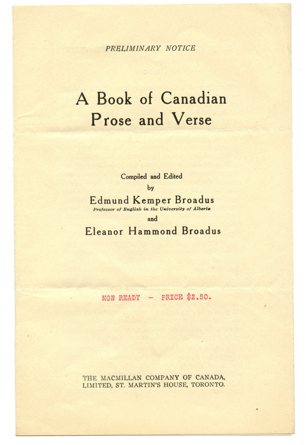 "Preliminary notice and order form for ""A Book of Canadian Prose and Verse"""